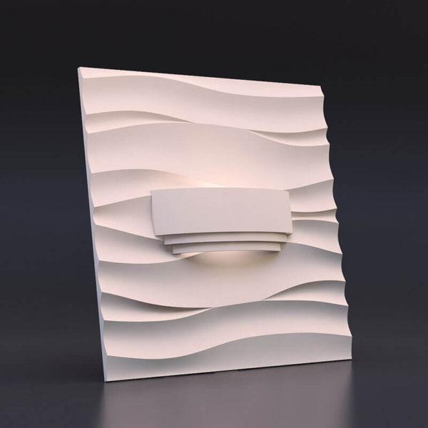 светильник из гипса модель 3 на панели волна